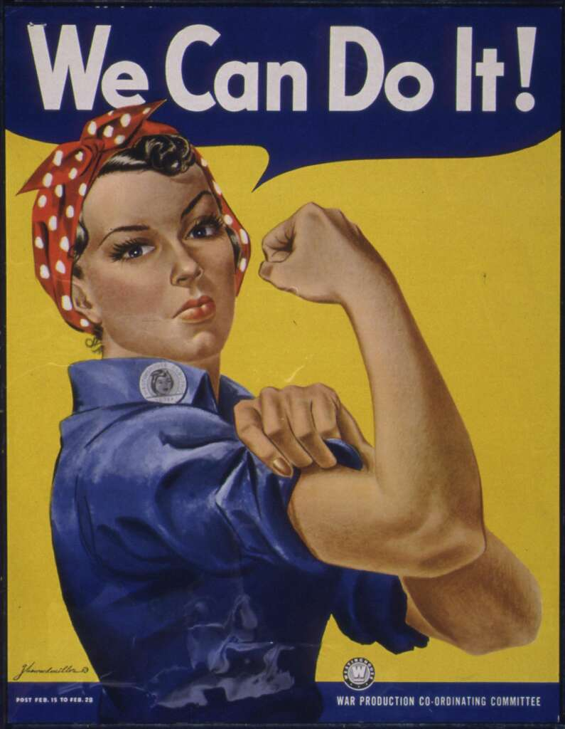 The classic wartime poster featuring Rosie the Riveter from 1942 is the most iconic image of American women and their involvement in the war effort.>> Click through the images to see more photos of women at work during World War II >> Photo: Smith Collection/Gado/Getty Images
