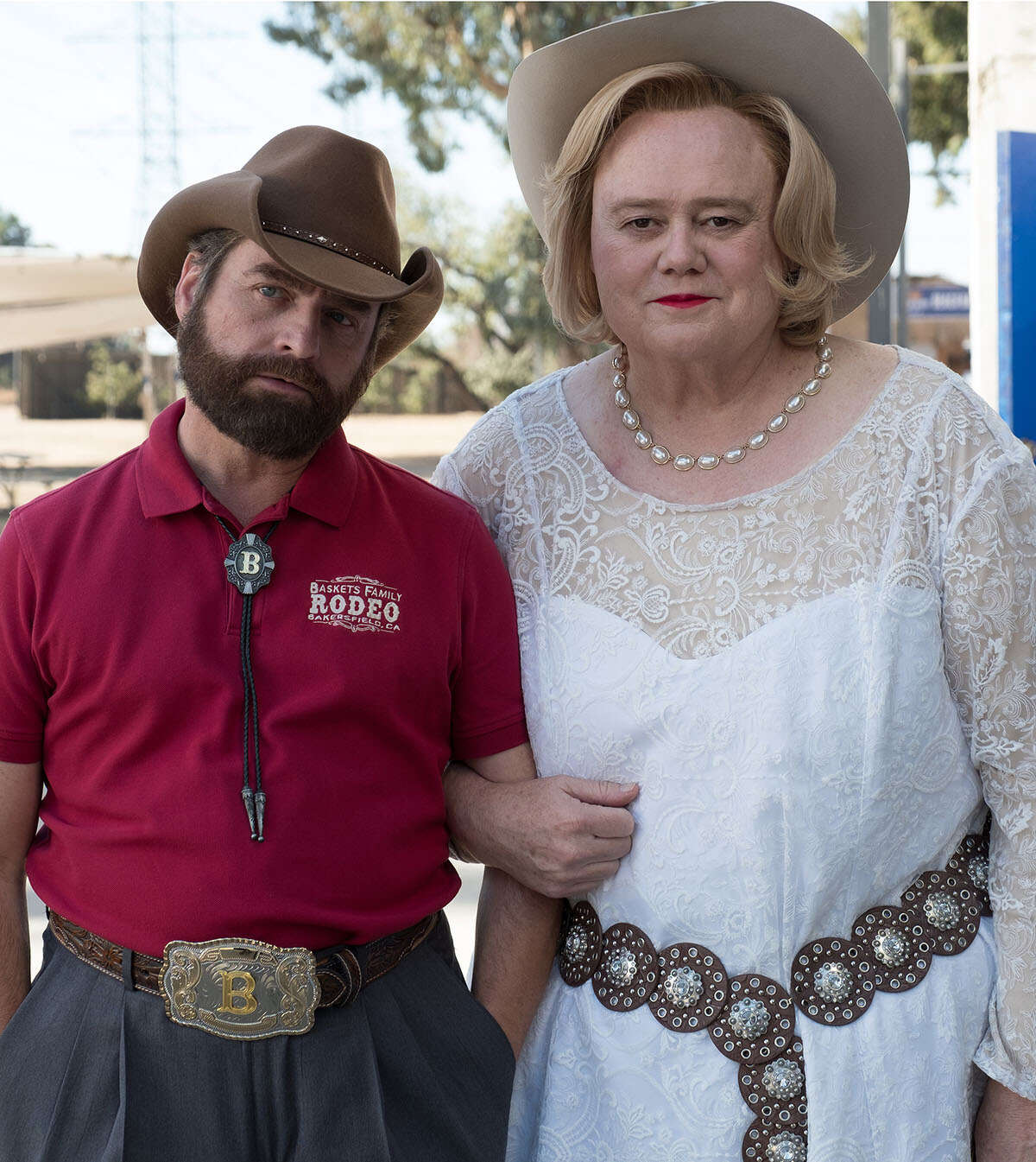 """BASKETS -- """"Wild Horses"""" --Season 3, Episode 1 (Airs Tuesday, January 23, 10:00 pm/ep) -- Pictured: (l-r) Zach Galifianakis as Dale Baskets, Louie Anderson as Christine Baskets. CR: Colleen Hayes/FX"""