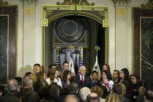 Vice President Mike Pence speaks at a reception for abortion opponents on the eve of the annual March for Life, at the Eisenhower Executive Office Building in Washington on Thursday.