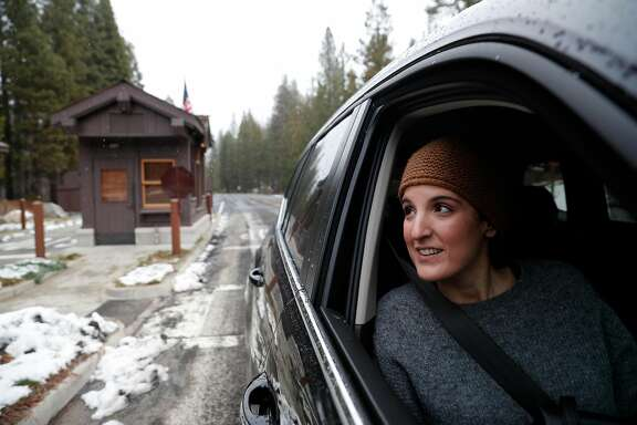 Ian Bertran and her husband Victor, visiting from Barcelona, Spain,  were surprised to find no Rangers collecting fees at the entrance into Yosemite National Park, in Yosemite, Calif., on Monday Jan. 22, 2018. The National Park is hoping to return to full staff soon after the US Senate voted to end the Federal government shutdown today.