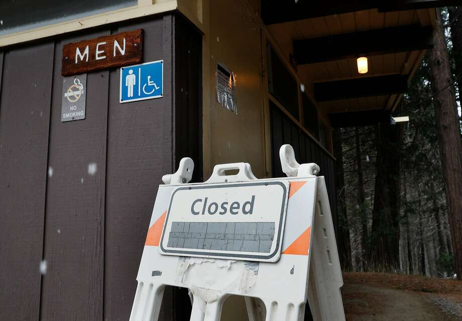 Several bathrooms were shut down included this one at the highway 120 entrance in Yosemite National Park in Yosemite Calif. on Monday Jan. 22 2018. The National Park is hoping to return to full staff soon after the US Senate voted to end the Federal