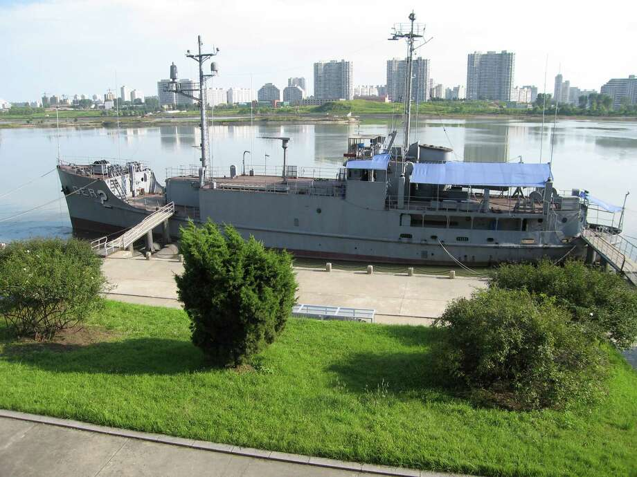 The USS Pueblo, a spy ship seized by North Korea in 1968, is now docked along the Taedong River in Pyongyang, the nation's capital, August 31, 2007. (Tim Johnson/MCT) Photo: Tim Johnson, MBR / MCT