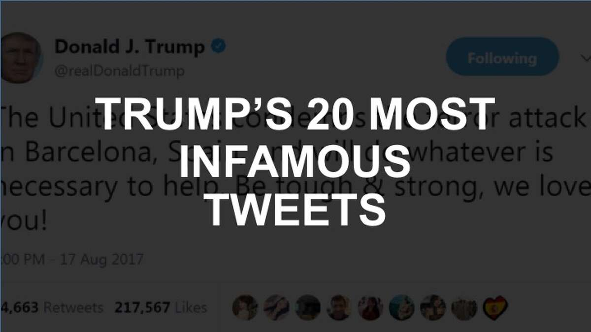 Click through the slideshow to see 20 of Trump's most popular-and infamous-tweets during his first year in office.