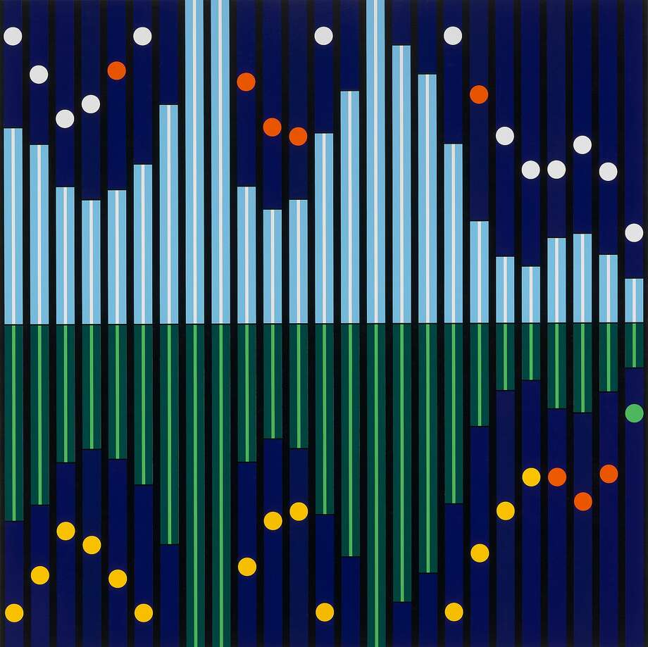 "Sarah Morris, ""Five Seconds Away (Sound Graph 4)"" (2017) Photo: ©Parallax, Berggruen Gallery"