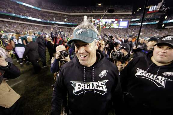 Philadelphia Eagles head coach Doug Pederson reacts after the NFL football NFC championship game against the Minnesota Vikings Sunday, Jan. 21, 2018, in Philadelphia. The Eagles won 38-7 to advance to Super Bowl LII. (AP Photo/Matt Rourke)