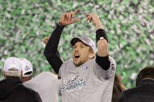 PHILADELPHIA, PA - JANUARY 21:  Nick Foles #9 of the Philadelphia Eagles celebrates his teams win over the Minnesota Vikings in the NFC Championship game at Lincoln Financial Field on January 21, 2018 in Philadelphia, Pennsylvania. The Philadelphia Eagles defeated the Minnesota Vikings 38-7.  (Photo by Abbie Parr/Getty Images)