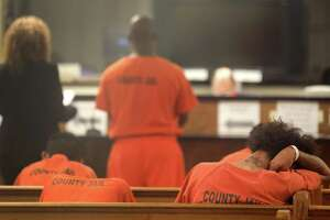 Defendants are seen during a probable cause hearing Tuesday, Dec. 19, 2017, in Houston.