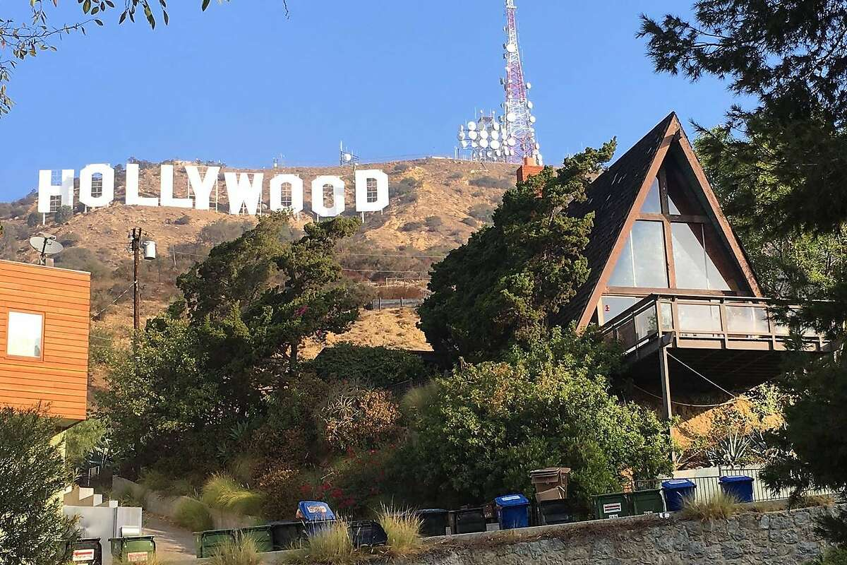A view of the Hollywood Aframe house in Los Angeles.