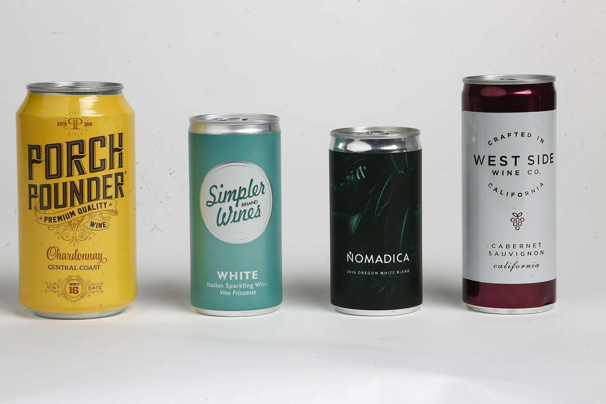 Wines in a can, as seen on Tuesday, Jan. 16, 2018 in San Francisco Studio, Calif. Porch Pounder Chardonnay Central Coast, Simpler Brand Wines Italian Sparkling Wine, Nomadica 2016 Oregon White Blend and West Side Wine Co. Cabernet Sauvignon.