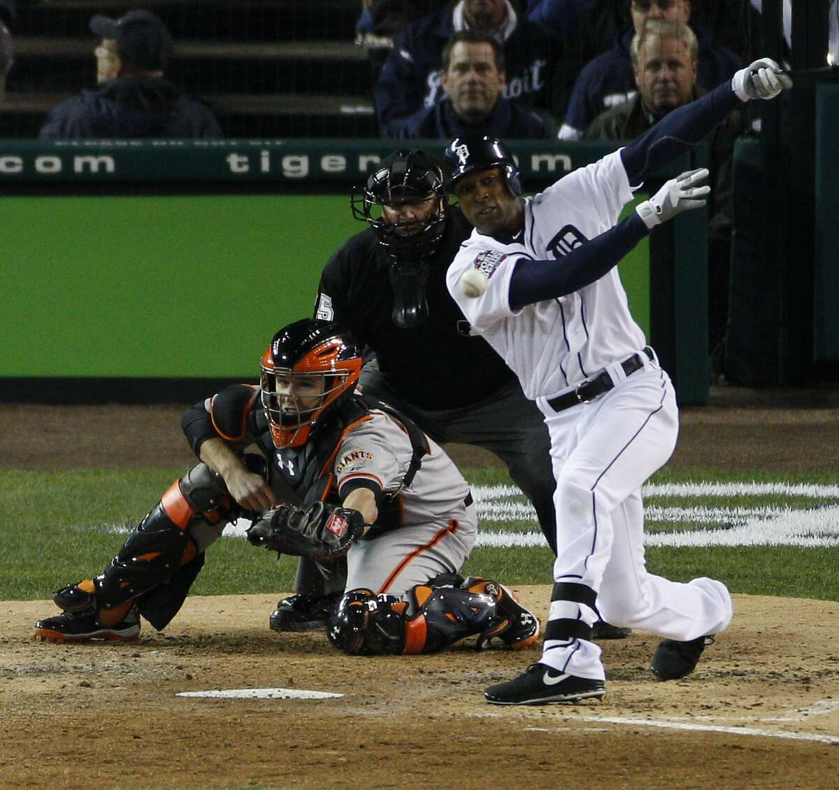 Tigers' center fielder Austin Jackson hits a single in the 3rd inning during the World Series game 3 at Comerica Park in Detroit, MI, on Saturday, Oct. 27, 2012.