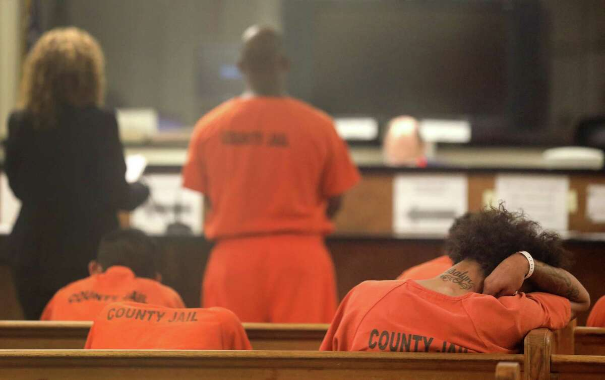 Defendants are seen during a probable cause hearing. Those who do not receive personal bonds will be transferred to jail, where the sheriff will determine if they can afford to post bail.