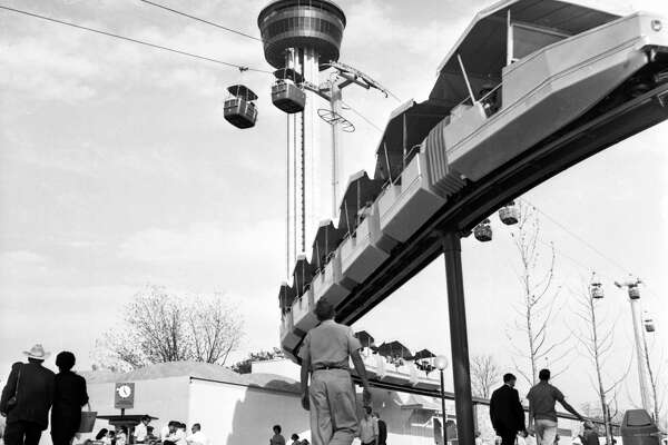 HemisFair 1968, with the monorail, sky ride and Tower of the Americas in the background.