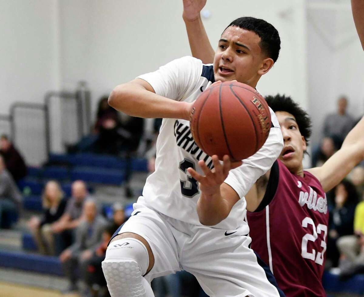 Mekeel Christian Academy's Jordan Jackson (3) moves the ball past Watervliet's Massiah Mallory during the first half of a high school basketball game on Wednesday, Jan.10, 2018, in Scotia, N.Y. (Hans Pennink / Special to the Times Union)
