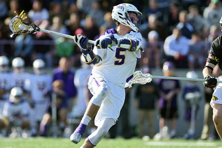 University at Albany's Connor Fields takes a shot to score during a lacrosse game against Maryland on Wednesday, April 12, 2017 in Albany, N.Y. (Lori Van Buren / Times Union) Photo: Lori Van Buren / 20040203A