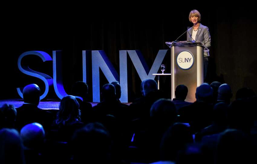 State University of New York Chancellor Kristina M. Johnson delivered her first State of the University System Address to an at-capacity audience of students, government officials, distinguished guests, and the SUNY community at the Capital City Center Monday Jan 22, 2018 in Albany, N.Y. (Skip Dickstein/Times Union)