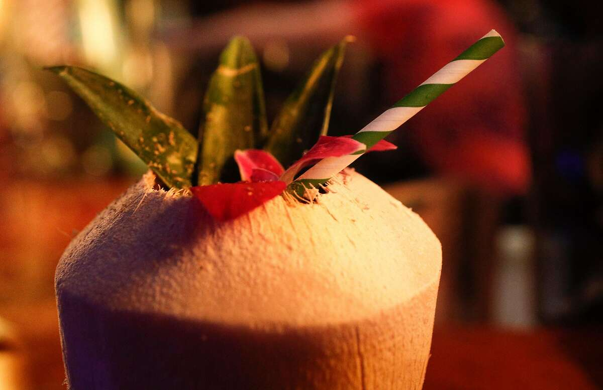 A rum chi chi with paper straw served at the Pagan Idol where they have been using paper straws in their drinks for the past year and a half, as seen on Friday, Jan. 19, 2018 in San Francisco, Calif. There is a bill in California is passed would ban plastic straws at dine-in restaurants unless a customer asks for one.