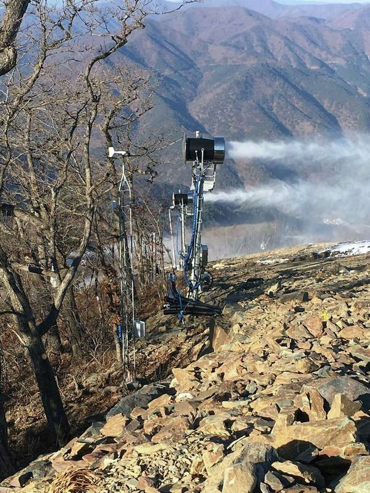 Equipment from SMI Snow Makers in Midland manufactures snow for the Jeongseon Alpine Centre, the site of Alpine skiiing and snowboarding at the 2018 Winter Olympics in South Korea. (Photo provided by SMI Snow Makers)