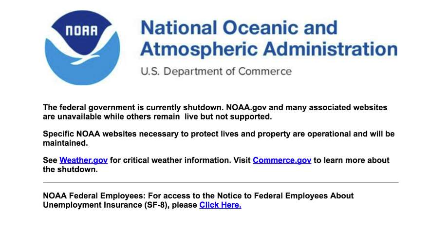 NOAA's homepage linked to a notice explaining that the site could not update due to the government shutdown. Photo: NOAA/Screenshot