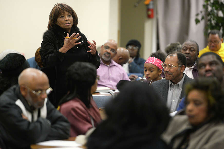 Irmalyn Thomas speaks during a community meeting at Starlight Missionary Baptist Church Monday night regarding the upcoming merger of Central and Ozen high schools. The meeting was held to give community members an opportunity to prepare input to give the school district.  Photo taken Monday 1/22/18 Ryan Pelham/The Enterprise Photo: Ryan Pelham / ©2017 The Beaumont Enterprise/Ryan Pelham