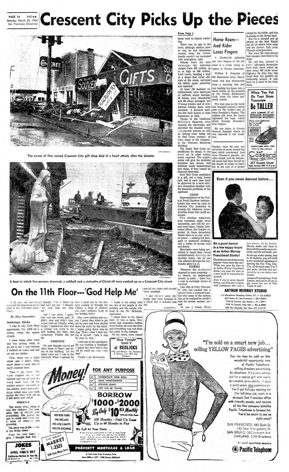 The San Francisco Chronicle reports on the 1964 tsunami that caused severe damage in Crescent City, Calif. It was triggered by a 9.2 earthquake in Alaska.