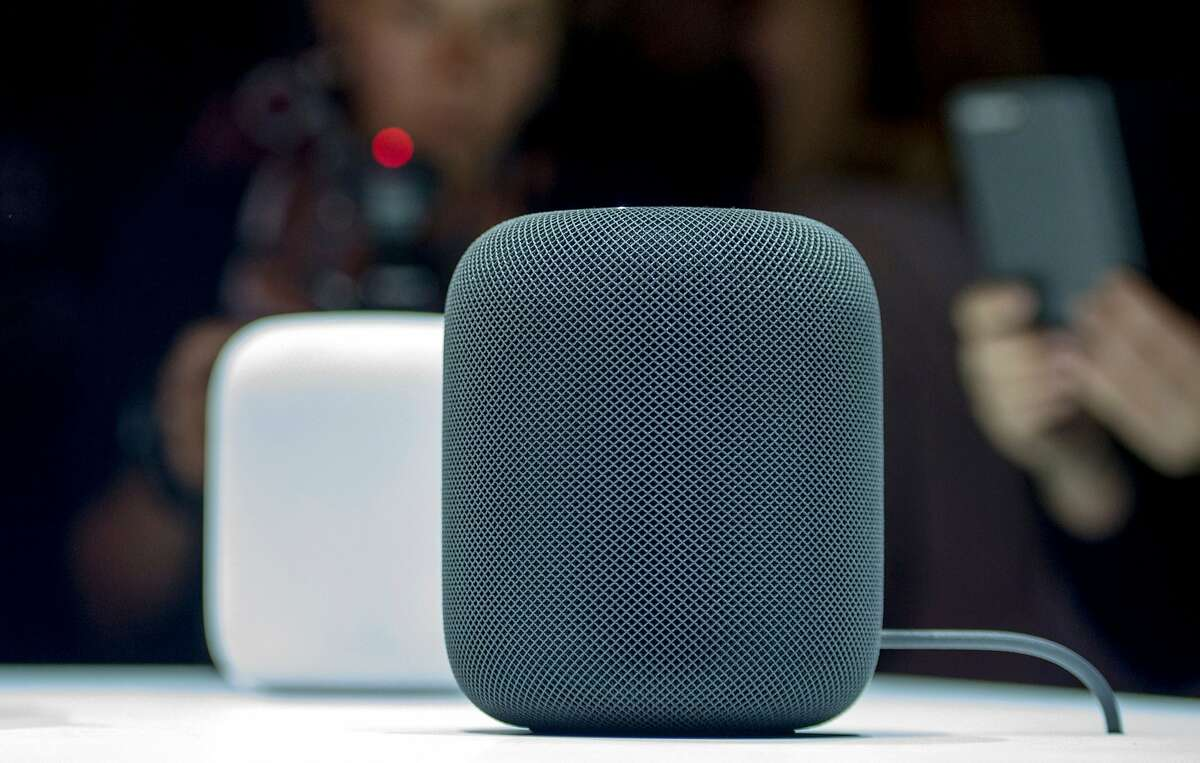 (FILES) This file photo taken on June 5, 2017 shows the New Apple HomePod smart speaker on display during Apple's Worldwide Developers Conference in San Jose, California.
