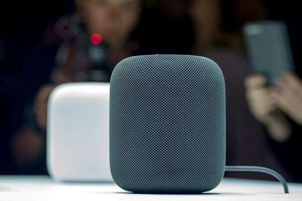 (FILES) This file photo taken on June 5, 2017 shows the New Apple HomePod smart speaker  on display during Apple's Worldwide Developers Conference in San Jose, California. Apple said November 17, 2017 it was delaying until early next year the release of its HomePod speaker set to compete with Amazon's Alexa-powered devices and Google Home as a smart home and music hub.The delay means Apple will miss the key holiday shopping season in the fast-growing segment of connected speakers.  / AFP PHOTO / Josh EdelsonJOSH EDELSON/AFP/Getty Images