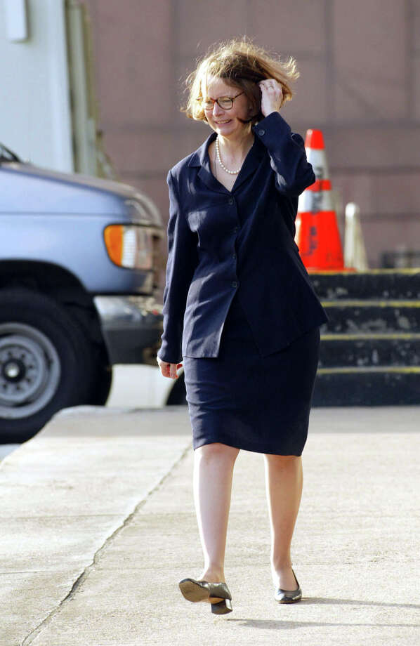US District Judge Melinda Harmon arrives at the federal courthouse in Houston, Texas, for the beginning of the third week in the Arthur Andersen trial on Monday, May 20, 2002. Photographer: Craig Hartley/Bloomberg News Photo: CRAIG HARTLEY, BLOOMBERG NEWS
