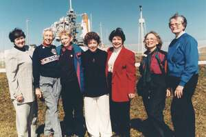 Visiting Kennedy Space Center in 1995 as invited guests of STS-63 Pilot Eileen Collins are (from left): Gene Nora Jessen, Wally Funk, Jerrie Cobb, Jerri Truhill, Sarah Ratley, Myrtle Cagle and Bernice Steadman, all members of the First Lady Astronaut Trainees. The program was not sanctioned by NASA and was shuttered in the early 1960s.