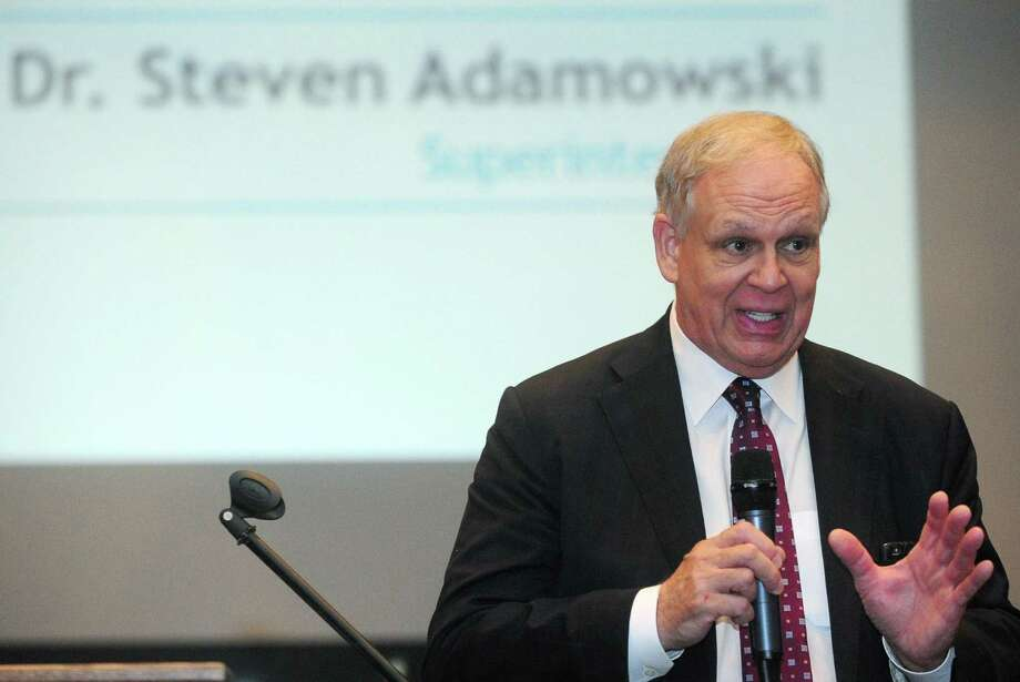 Norwalk Superintendent of Schools Dr. Steven Adamowski speaks during the convocation for all Norwalk Public Schools teachers at Brien McMahon High School Friday, Aug. 25, 2017, in Norwalk. Photo: Erik Trautmann / Hearst Connecticut Media / Norwalk Hour