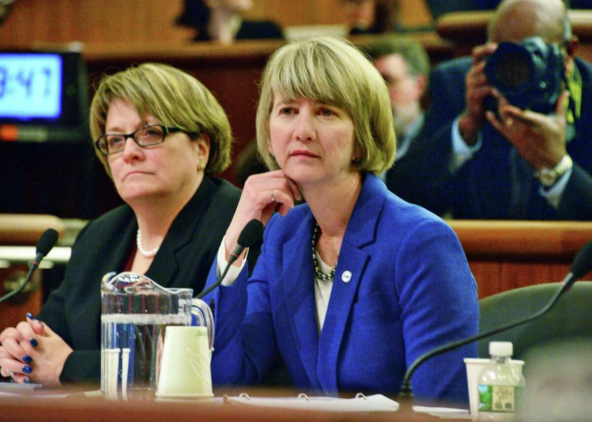 SUNY CFO Eileen G. McLoughlin, left, and SUNY Chancellor Kristina Johnson appear before a New York state Legislature joint budget hearing Tuesday Jan. 23, 2018 in Albany, NY. (John Carl D'Annibale/Times Union)