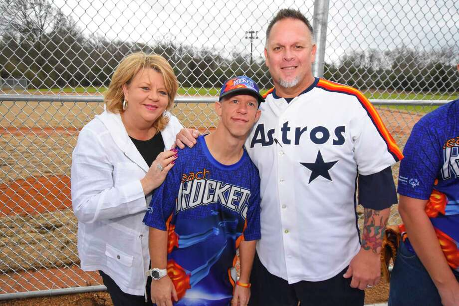 Houston City Council member Brenda Stardig, left, Reach Unlimited's Alex Biescar and  former pro baseball player Greg Swindell.  Reach Unlimited celebrated the opening of the Reach Unlimited Special Olympics Baseball field Jan. 21. The baseball field is an addition to the Blair Inez Scianna Learning Activity Center and will be the home field for the Reach Rockets Special Olympics team. Photo: Tony Gaines/ HCN, Photographer