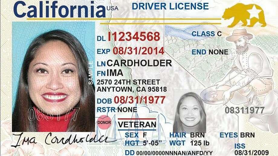 A facsimile of California's Real ID driver license. Photo: Courtesy DMV