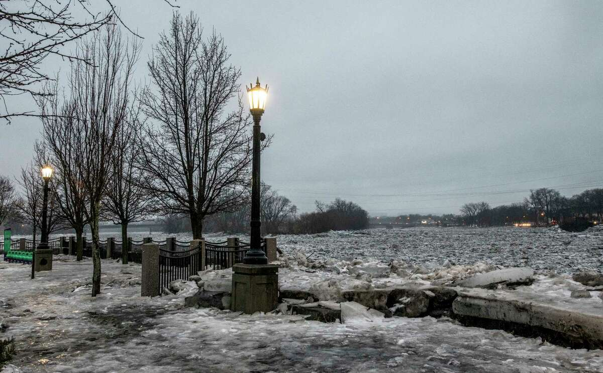 Ice on the Mohawk River is still jammed up near Riverside Park Tuesday, Jan 23, 2018 in Schenectady, N.Y. (Skip Dickstein/Times Union)