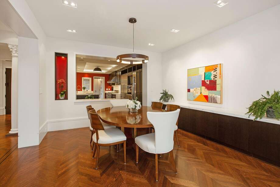 The dining room at 2300 Divisadero St. steps into the eat-in kitchen.  Photo: Open Homes Photography