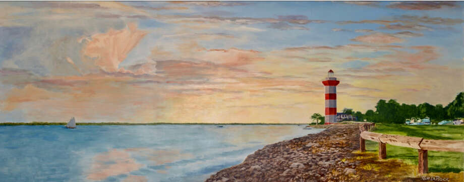 "A 5 feet by 12 feet mural for the newest area Kroger store in Conroe titled ""Sunset Over Lake Conroe,"" by local artist, Tom LaRock."