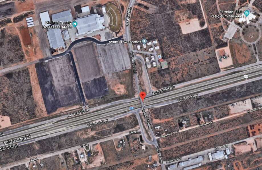 Cotton Flat Road overpass that goes over Interstate 20 near Midland County's Horseshoe Arena is closed due to damage. Photo: GOOGLE MAPS