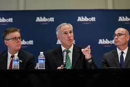 Gov. Greg Abbott, center, flanked by Lt. Gov. Dan Patrick, left, and state Rep. Dennis Bonnen, right. Gov. Greg Abbott discusses his plan to curb property taxes. Readers are skeptical.