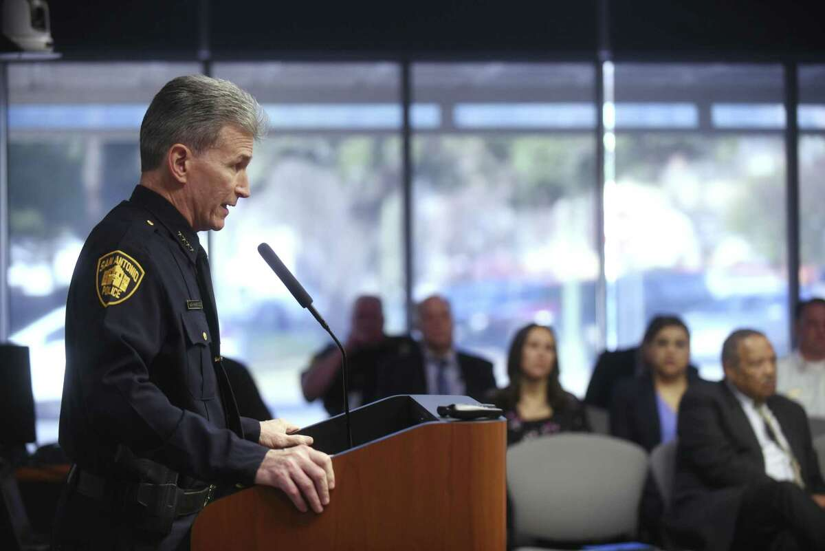 San Antonio Police Chief William McManus speaks to the City Council's public safety subcommittee Tuesday. McManus unveiled a handful of changes aimed at improving procedures within the department's investigative units.