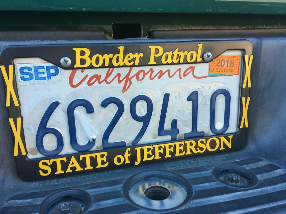 This State of Jefferson Border Patrol license plate frame was on a Toyota pickup parked at the fairgrounds. Photo: Chris Bateman