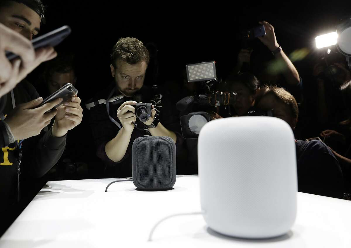 In this Monday, June 5, 2017, file photo, the HomePod speaker is photographed in a a showroom during an announcement of new products at the Apple Worldwide Developers Conference in San Jose, Calif.