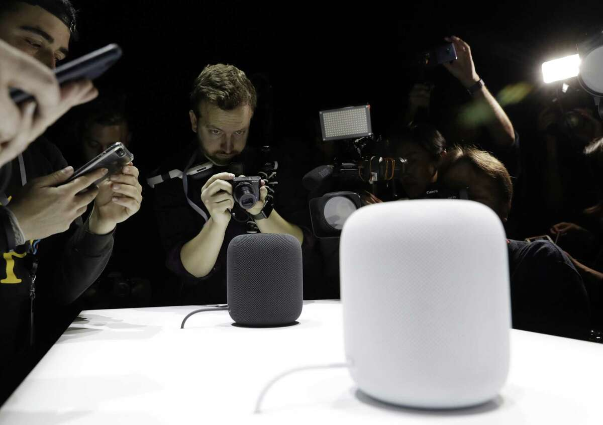 The HomePod speaker is photographed during an announcement of new products at the Apple Worldwide Developers Conference in San Jose, Calif., in June. Pre-orders for the HomePod will begin Friday in the U.S, U.K. and Australia, two weeks before the speaker goes on sale in stores.