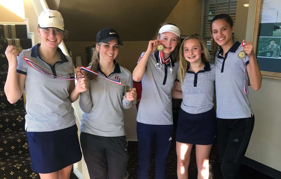 Hardin-Jefferson's girls golf team of Makenna Henry, Skylar Smith, Katelynn Burleson, Haley Boone and Maddi Wallace contributed to their first place score of 418 at the Hardin-Jefferson Hawk Invitational on Monday at the Beaumont Country Club. Wallace shot the lowest round for the team (97). (Photo provided by H-J Athletics)