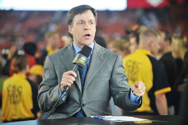 LANDOVER - SEPTEMBER 12: Bob Costas broadcasts before the NFL season opener between the Washington Redskins and the against the Dallas Cowboys at FedExField on September 12, 2010 in Landover, Maryland. The Redskins defeated the Cowboys 13-7. (Photo by Larry French/Getty Images) *** Local Caption *** Bob Costas