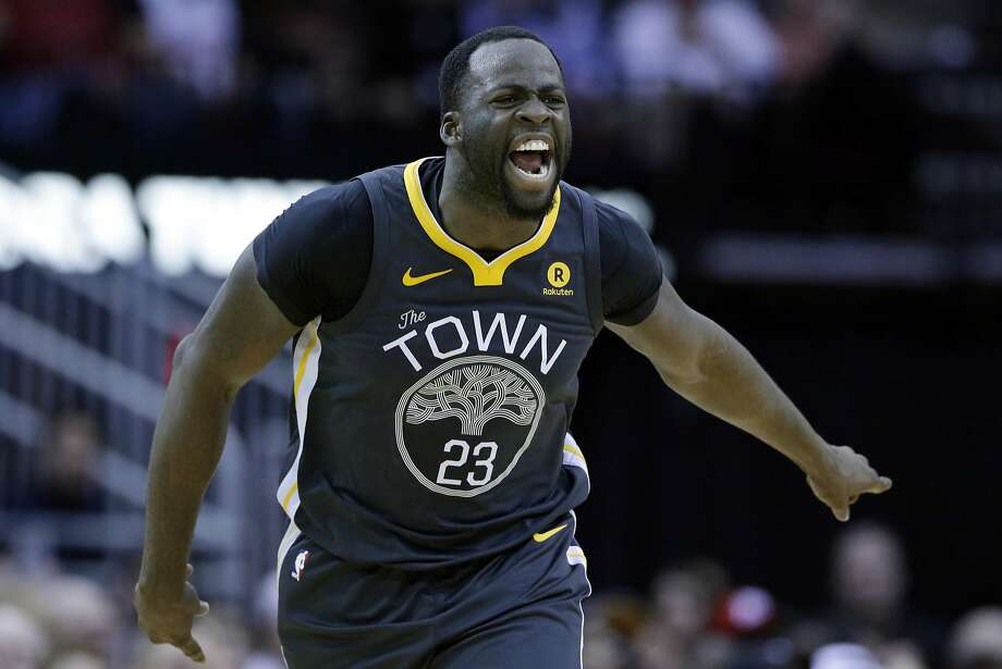 Golden State Warriors forward Draymond Green (23) reacts after scoring against the Houston Rockets during the second half of an NBA basketball game Saturday, Jan. 20, 2018, in Houston. (AP Photo/Michael Wyke) Photo: Michael Wyke, Associated Press