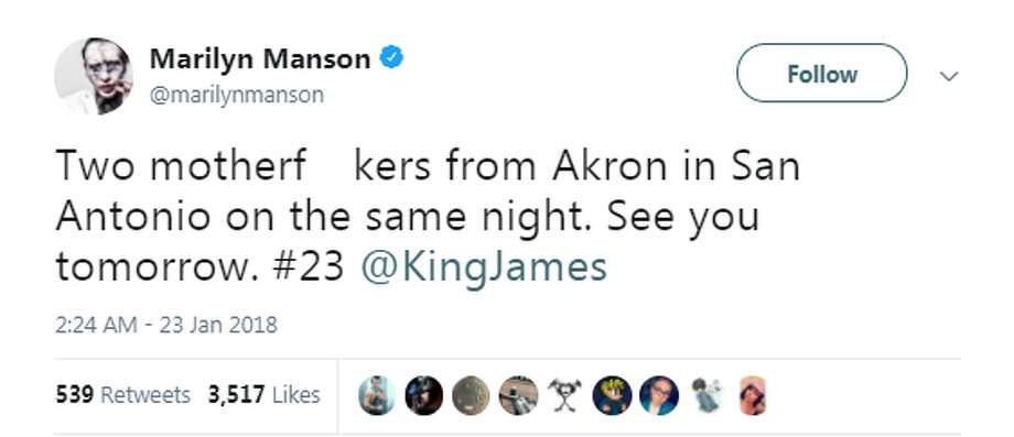 "The ""two motherf--kers from Akron,"" as Manson said in a tweet, will be in the Alamo City Tuesday night as the shock rocker performs on the Aztec Theatre stage and Lebron James takes on the Spurs."