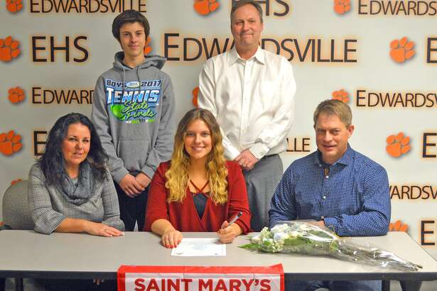 Edwardsville senior Mady Schreiber will play tennis at St. Mary's University of Minnesota. In the front row, from left to right, are mother Betsy Schreiber, Mady Schreiber and father William Schreiber. In the back row, from left to right, are brother Drake Schreiber and EHS coach Dave Lipe.