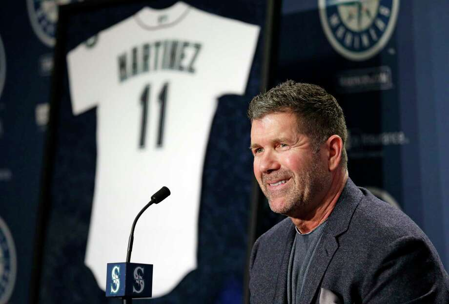 FILE - In this Jan. 24, 2017, file photo, Seattle Mariners former designated hitter Edgar Martinez smiles as he speaks at a news conference announcing the retirement by the team of his jersey number 11, in Seattle. Martinez is rocketing up the Hall of Fame ballot, boosted 13 years after his final swing by new-age statistical analyses and campaigning. (AP Photo/Elaine Thompson, File) Photo: Elaine Thompson, STF / Copyright 2017 The Associated Press. All rights reserved.