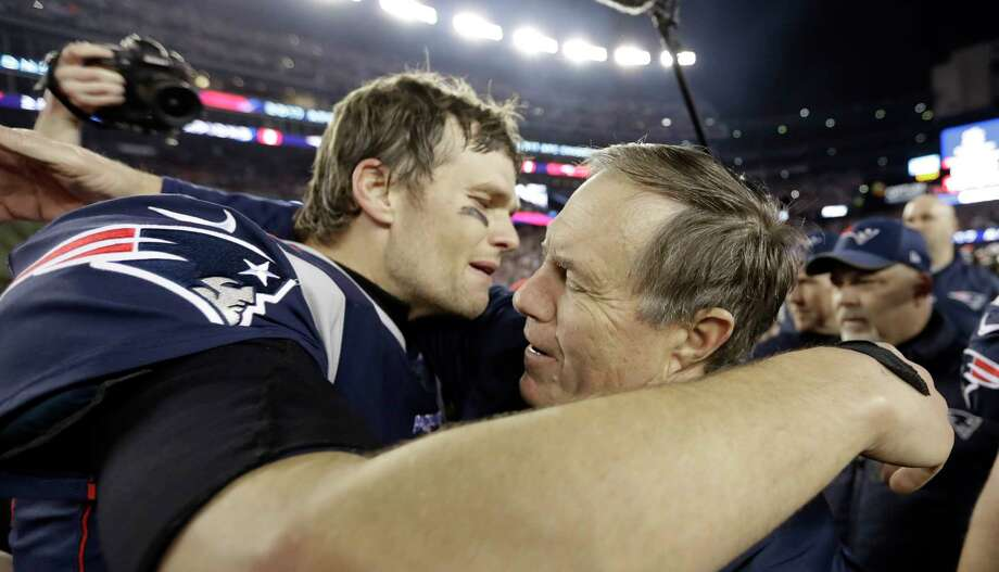 Patriots QB Tom Brady, left, and coach Bill Belichick will be appearing in their eighth Super Bowl in 17 years together. Photo: David J. Phillip, STF / Copyright 2018 The Associated Press. All rights reserved.