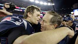 Patriots QB Tom Brady, left, and coach Bill Belichick will be appearing in their eighth Super Bowl in 17 years together.