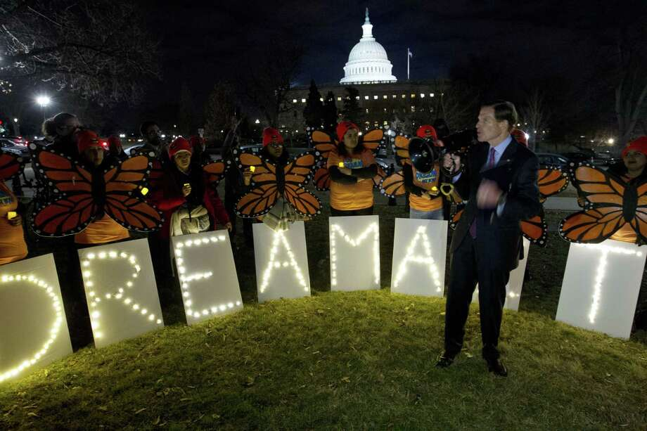 "Sen. Richard Blumenthal D-Conn., speaks during a rally in support of Deferred Action for Childhood Arrivals (DACA) outside of the Capitol, Sunday, Jan. 21, 2018, in Washington. Democrats have been seeking a deal to protect the ""Dreamers,"" who have been shielded against deportation by DACA, which President Donald Trump halted last year. Photo: Jose Luis Magana / Associated Press / FR159526 AP"
